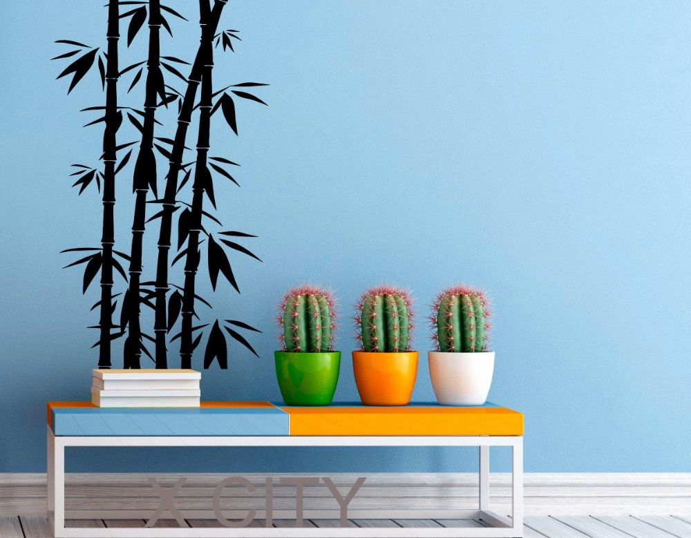 bamboo wall decal zen plant vinyl stickers chinese orient style home interior design art office. Black Bedroom Furniture Sets. Home Design Ideas