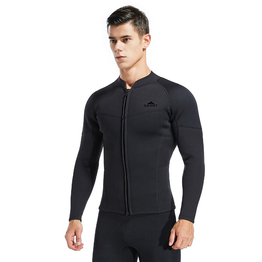 Mens Wetsuit Top, 3mm Neoprene Jacket Long Sleeve Front Zip Wetsuit Shirt for Diving Snorkeling Surfing Kayaking Cano BlackMens Wetsuit Top, 3mm Neoprene Jacket Long Sleeve Front Zip Wetsuit Shirt for Diving Snorkeling Surfing Kayaking Cano Black