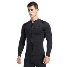 Для Мужчин's верхняя часть Гидрокостюма, 3 мм Неопреновая куртка с длинным рукавом молния спереди гидрокостюм рубашка для дайвинга подводное плавание сёрфинг каякинга