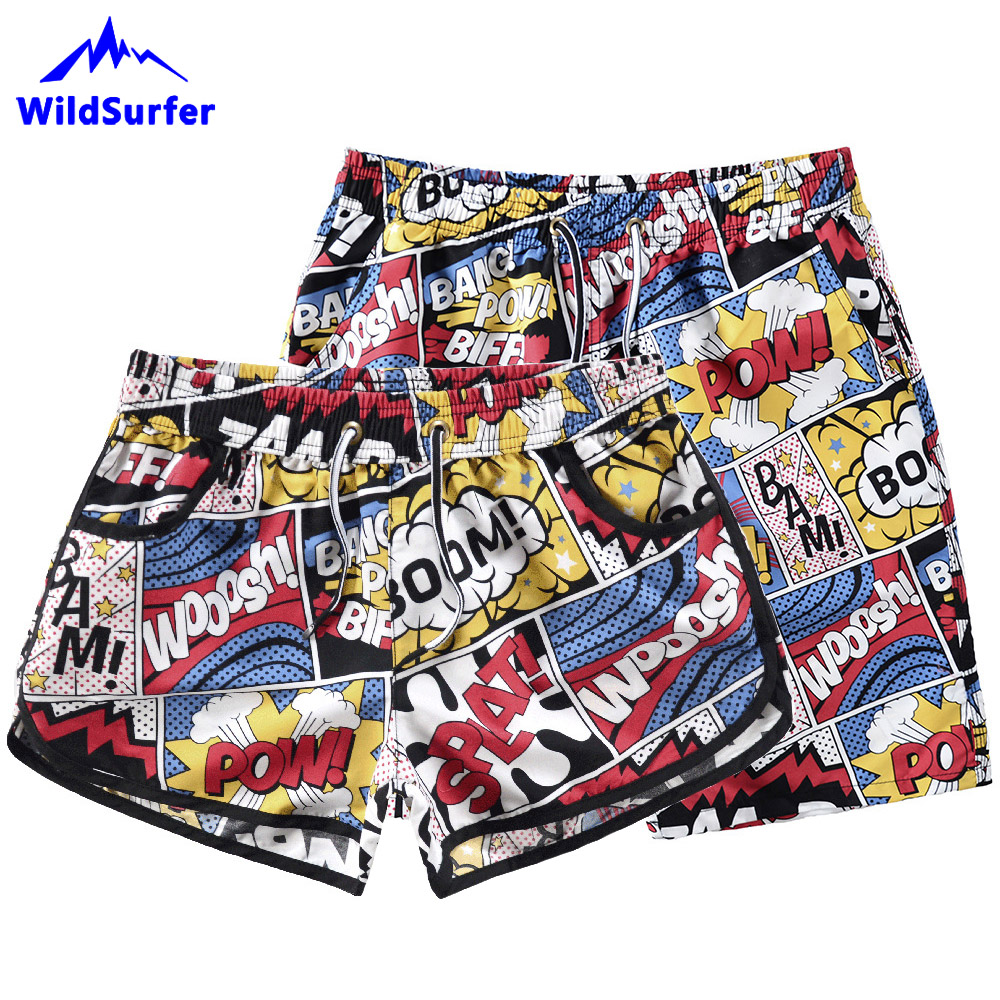 WildSurfer 2019 Lovers Beach Board Shorts Men Quick Dry Swim Shorts Women Surf Shorts Couple Swimsuit Short De Plage Homme SP138