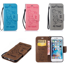 Роскошный pu кожа печати медведь case для iphone 5s 5g se 6 6s 7 плюс бумажник обложка флип coque с держателей карт мешок случаях
