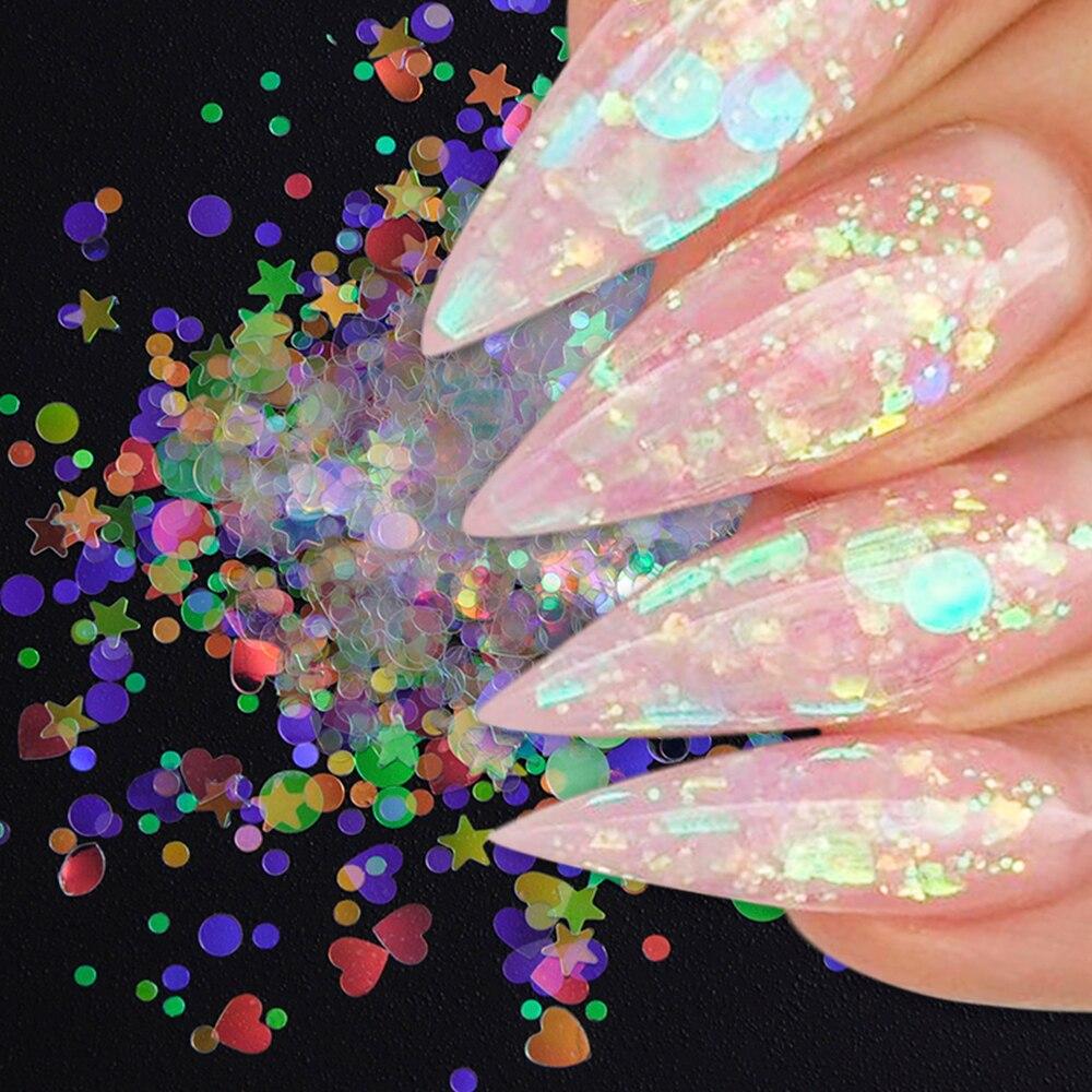 Рисунок с блестками для ногтей