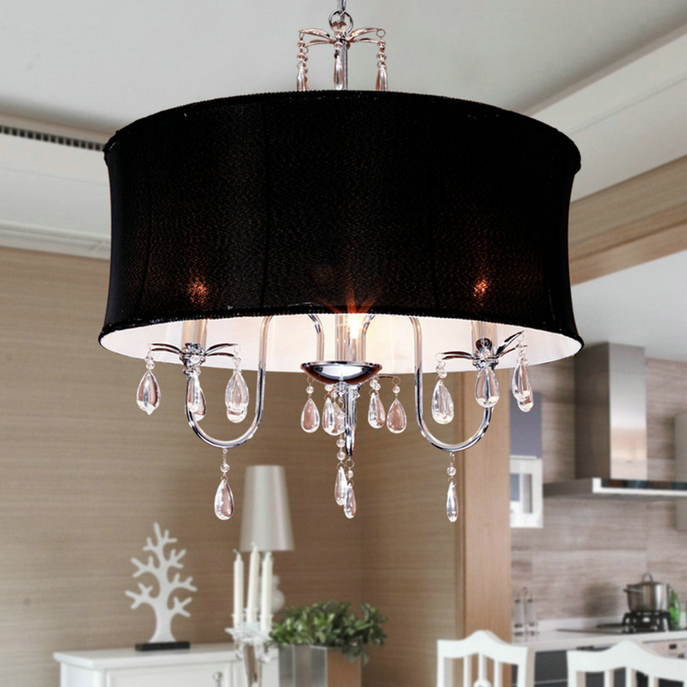 MAMEI Free Shipping 110 240V Comtemporary Crystal Chandeliers Modern Lamp  For Parlour D40CM Size With Fabric Black Lamp Shade