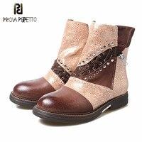 Prova Perfetto новые стили женские короткие зимние ботинки в стиле ретро нефть загорелая кожаные сапоги обувь 100% реальные фотографии повседневны
