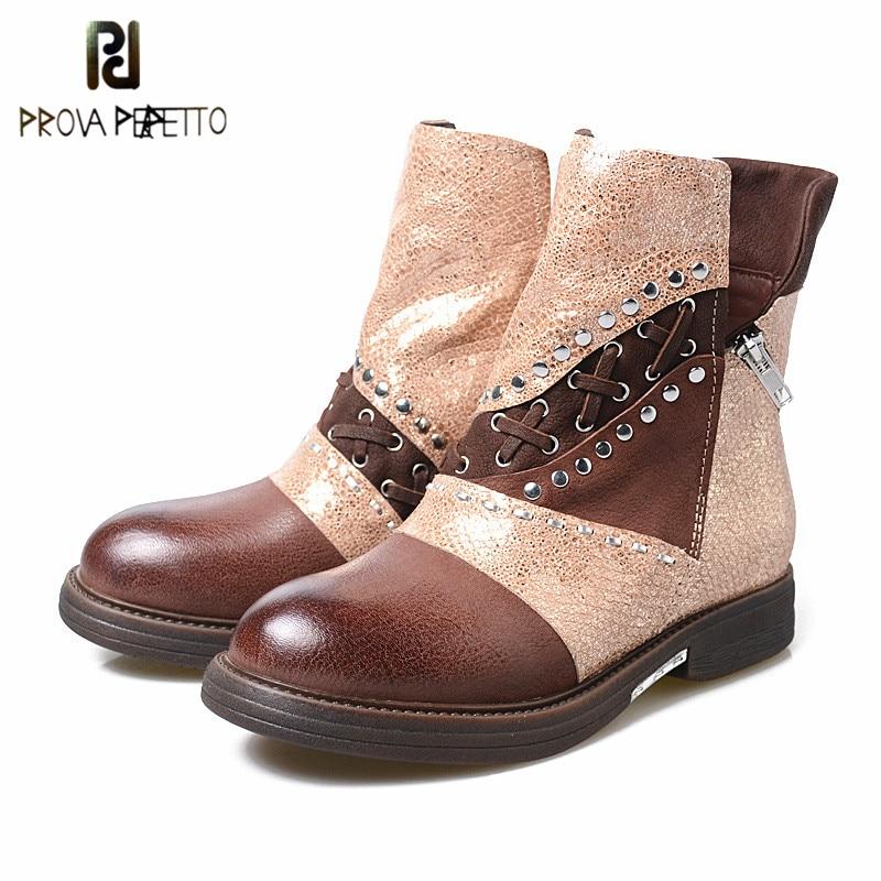 Prova Perfetto New Styles Women Winter Short Boots Fashion Retro Oil Tanned Leather Boots Shoes 100% Real Photos Casual Boots prova perfetto 2017 winter new styles women short boots high quality 100