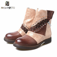Prova Perfetto New Styles Women Winter Short Boots Fashion Retro Oil Tanned Leather Boots Shoes 100% Real Photos Casual Boots