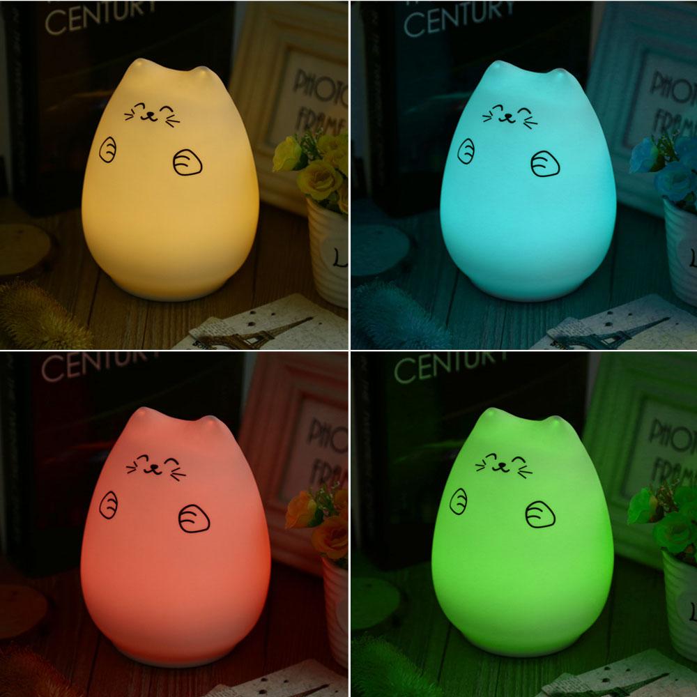 LightMe LED USB Schlafzimmer Wohnzimmer Wiederaufladbare Nacht Beleuchtung Nette Katze Bunte Silikon Bronacht Hit Schlagen Lampe