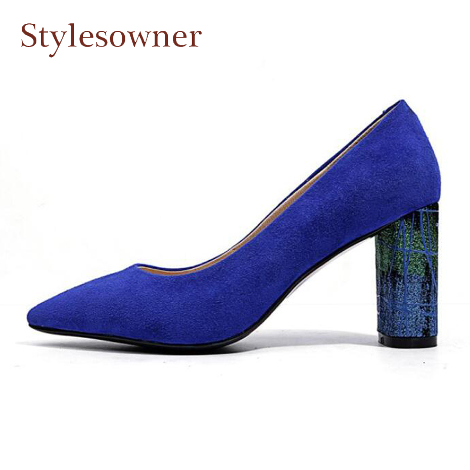 Stylesowner new style chunky high heel shoes blue women pumps fashion shallow pointed toe print heel dress shoes lady party pump купить