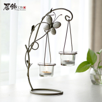Home decoration brief glass vase fashion rustic iron crafts decoration candle holder home decor candle stand decorative vase