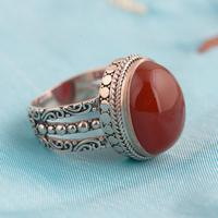 Red Agate Ring 925 Sterling Silver Vintage Thai Silver Oval Shaped Natural Stone Exaggerated Large Womens Rings
