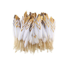 High quality Dipped Gold Natural dyed Duck Feather 20pcs10-15CM DIY feathers for crafts decor feathers for jewelry making plumas
