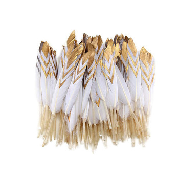 High quality Dipped Gold Natural dyed Duck Feather 20pcs10-15CM DIY feathers for crafts decor feathers for jewelry making plumas 50pcs natural pheasant feathers 2 3 inch 5 8cm high quality plume diy jewelry making accessories wedding stage mask decorations