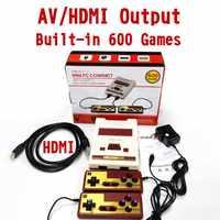 8 bit Retro 4K HD HDMI y AV salida de mano reproductores de juegos familia TV Mini consola de videojuegos incorporado en 600 juegos clásicos para NES