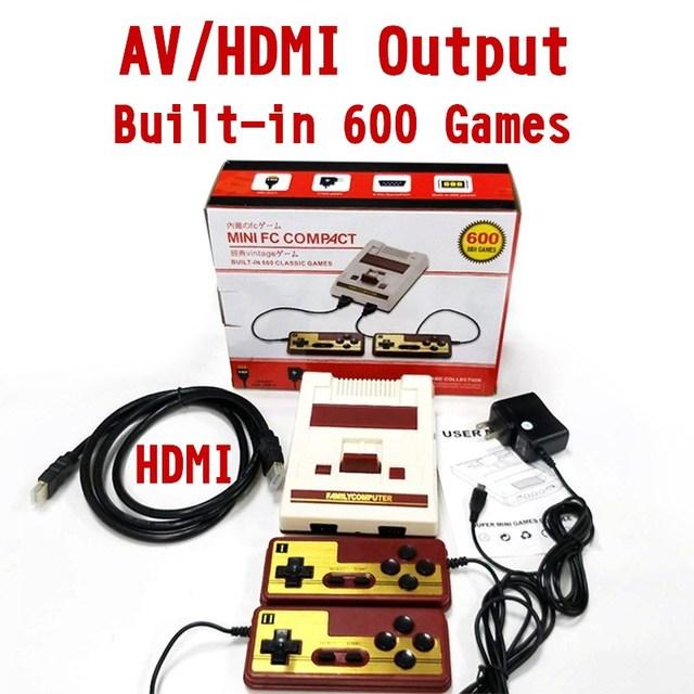 8Bit Retro 4K HD HDMI & Đầu Ra AV Máy Chơi Game Cầm Tay Người Chơi Họ TV Video Mini Tay Cầm Chơi Game Xây Dựng năm 600 Trò Chơi Cổ Điển Cho NES