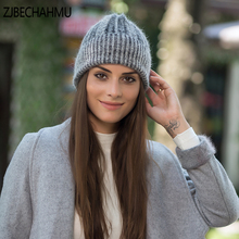 ZJBECHAHMU Fashion Solid Spring Wool Rabbit Skullies Beanies Hats For Women Girl Winter Warm Snapback 2019 New Accessories