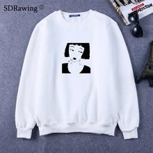 Smoking Girl Anime Sweatshirts Funny Punk Harajuku Hip Hop Rock Sweatshirts Women Sweatshirts Femme 2018