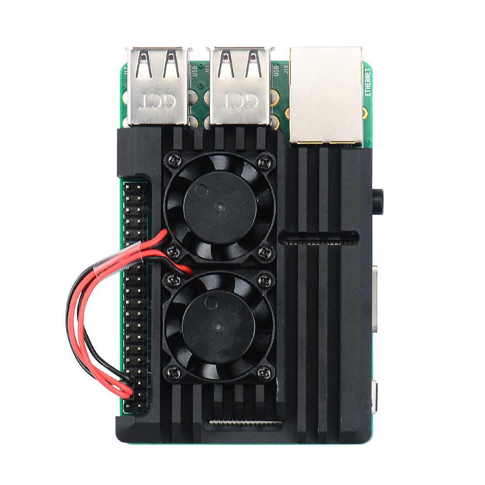Raspberry Pi Rüstung Fall, Raspberry Pi Metall Fall mit Dual Fan Aluminium Legierung, Raspberry Pi Fan, für Raspberry Pi 3 Modell B +