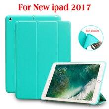 Para el ipad 9.7 2017, Portada De LA PU + TPU Suave Silicona Contraportada + PC Auto Del Sueño el caso Elegante para el Nuevo ipad 2017 liberación