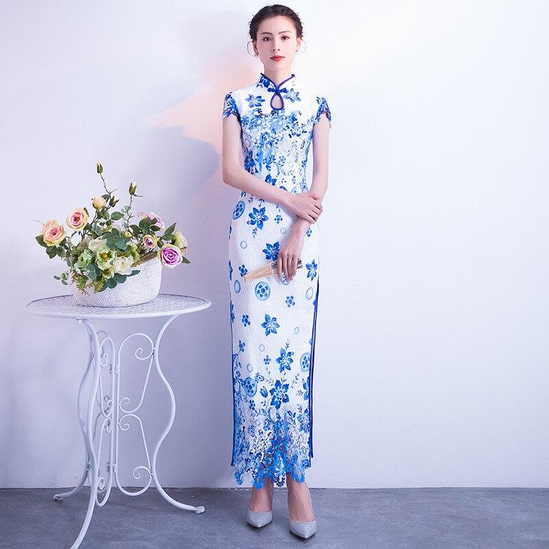 Bleu et blanc porcelaine moderne Qipao Long mariage chinois antiquités à vendre traditionnel Cheongsam Sexy Oriental robe de soirée