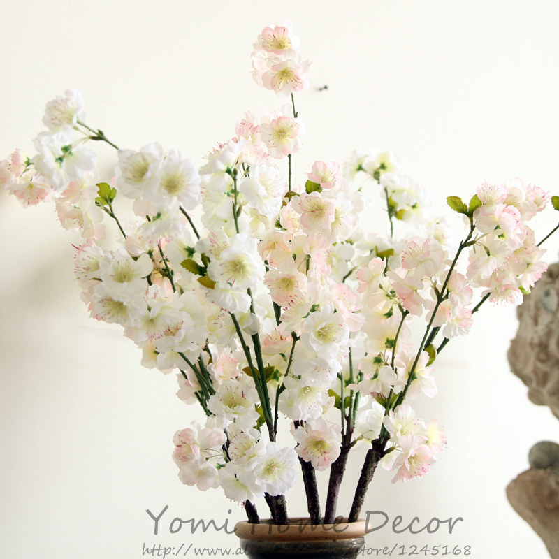 6pcs Lot 29 5 Inch Tall Real Look Artificial Branches Of Cherry Blossom Peach Silk Flowers For Home Office Decor Wedding Flower In Dried