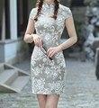 Clássico Estilo Chinês de Linho de Algodão das Mulheres Mini Qipao Cheongsam Feminino vestido Vestido mujere Costume Tamanho S M L XL XXL 2517-10