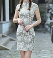 Classic Chinese Style Women's Cotton Linen Mini Cheongsam Female Qipao Dress Vestido mujere Costume Size S M L XL XXL 2517-10
