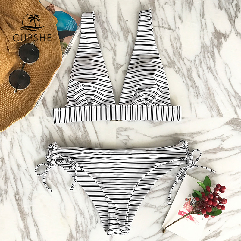 CUPSHE Out Of The Ordinary Stripe Bikini Set Women Sexy Back Hook Thong Two Pieces Swimsuit 2020 Beach Bathing Suit swimwear 1