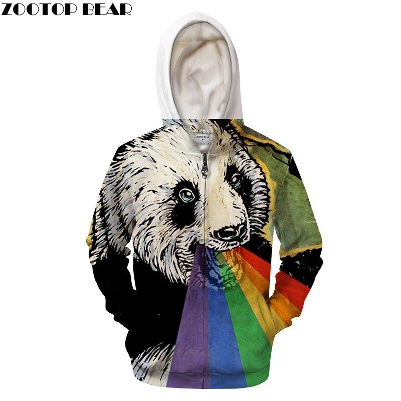 Panda Zip Hoodies Animal Hoody Men Zipper Sweatshirt 3D Pullover Printed Tracksuit Autumn Hooded Streatwear Drop Ship ZOOTOPBEAR