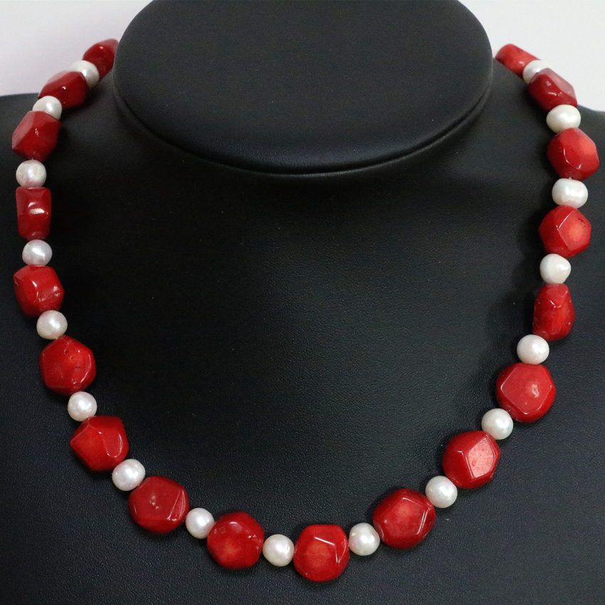 New top quality unique design charms natural red irregular coral 9-13mm white pearl spacer beads women necklace 18inch B1448