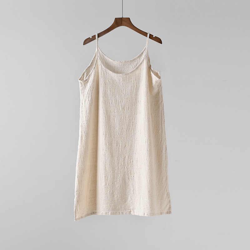 Johnature Casual Tops düz renk camiş 2020 yeni yaz giysileri o-boyun gevşek rahat pamuk keten yelek kadın sapanlar