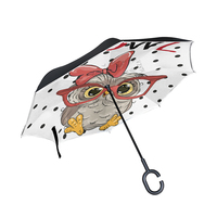 Upside Down Umbrella Cute Owl with Glasses Reversible Umbrella Heavy Duty Inverted Oversized Golf Umbrellas Windproof for Women