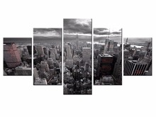Wholesale 5 pieces / set of bustling city night wall art for decorating home Decorative painting on canvas /XC-City-48