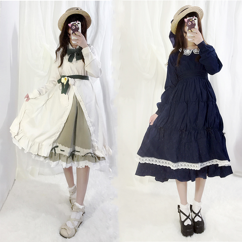 Japanese Anime cos Saturna Lolita Dress Tomoyo Party Cosplay Costume Kawaii Bow Ruffles Embroidery Women Dresses