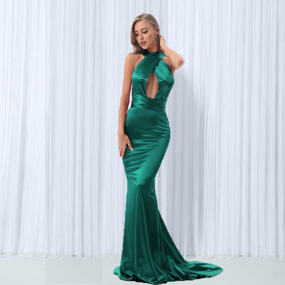 DIY Straps V Neck Green Mermaid Maxi Dress Floor Length Dress Backless Bodycon Sleeveless Evening Party