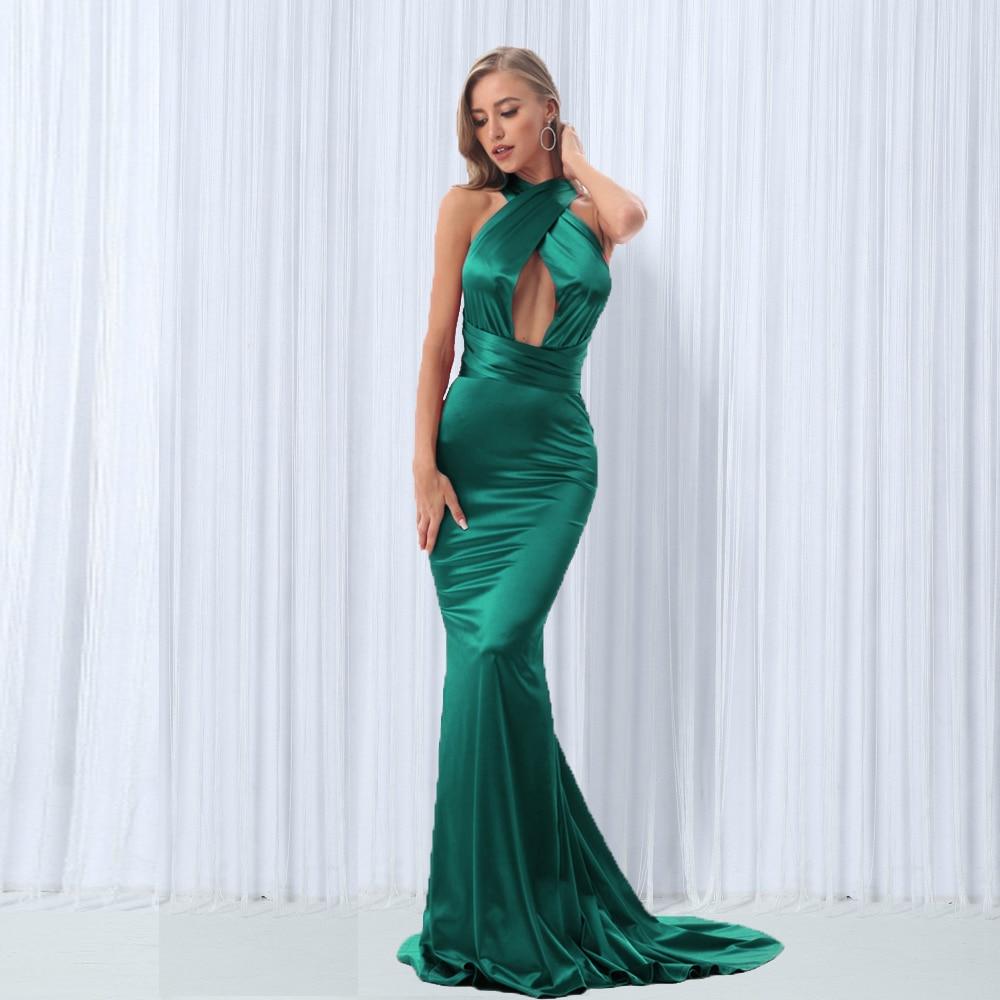 Diy Straps Neck Green Mermaid Maxi Dress Floor Length