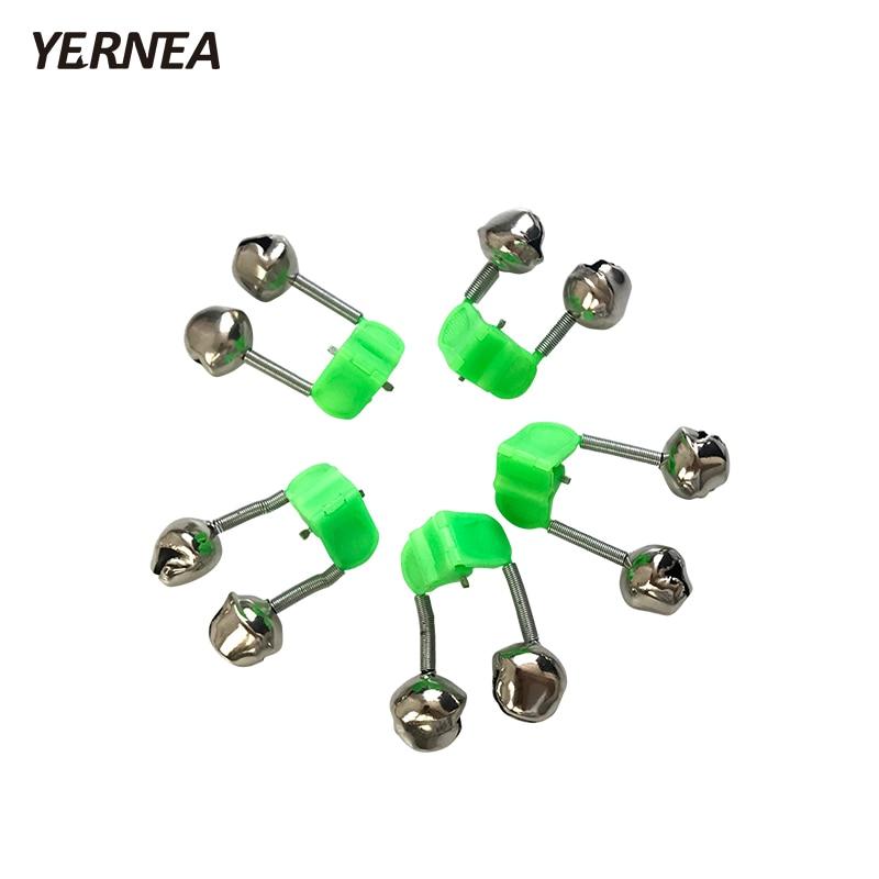 Yernea 5 Pcs/Lot  Fishing Rod Bite Alarms Fishing  Bells Rod Alarm Clamp Tip Fishing Accessory Clip Bells Ring Green Plastic