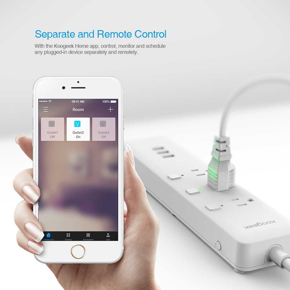 Koogeek WiFi inteligentny listwa przeciwprzepięciowa do dyspozycji gości jest również indywidualnie sterowana 3 listwa elektryczna dla Apple HomeKit Alexa asystent Google