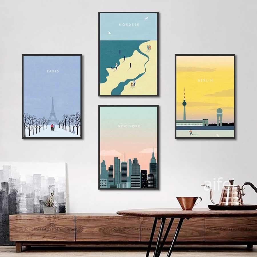 Nordic Kartun Perjalanan Poster dan Cetakan Paris New York Lanskap Kanvas Lukisan Rumah Dekorasi Kamar Tidur Dinding Seni Gambar