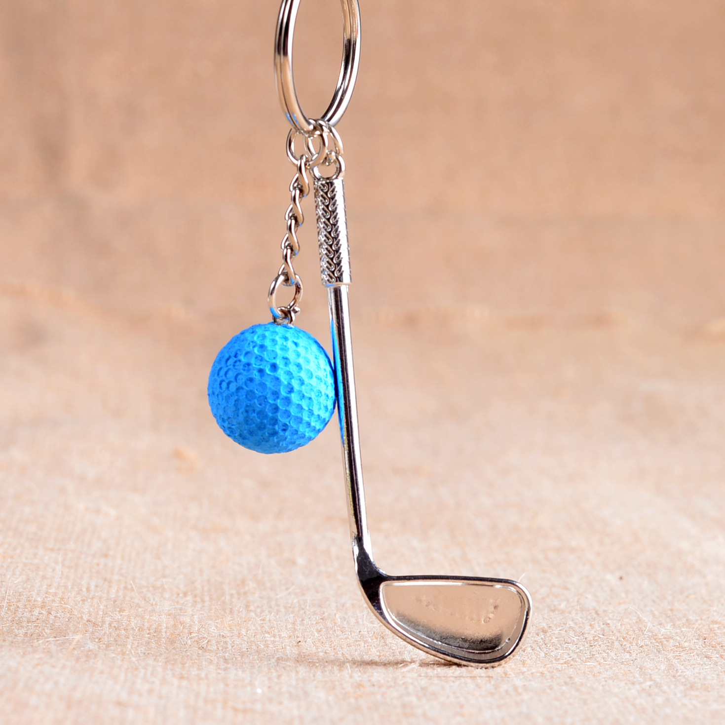 Hot Selling Metal Golf Club 6 Color Ball High Quality Pendant Sport Key Chain Key Ring Couple jewelry Accessories Souvenir Gift