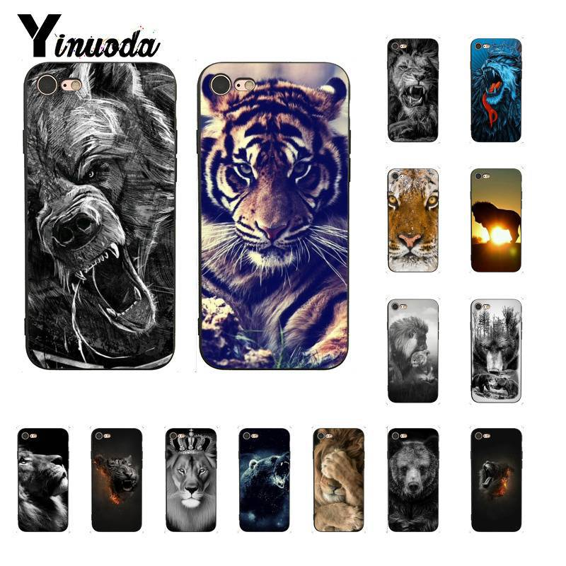 Yinuoda the Russian bear tiger lion mobile TPU Soft Black Phone Case for iPhone 8 7 6 6S 6Plus 5 5S SE XR X XS MAX Coque Shell