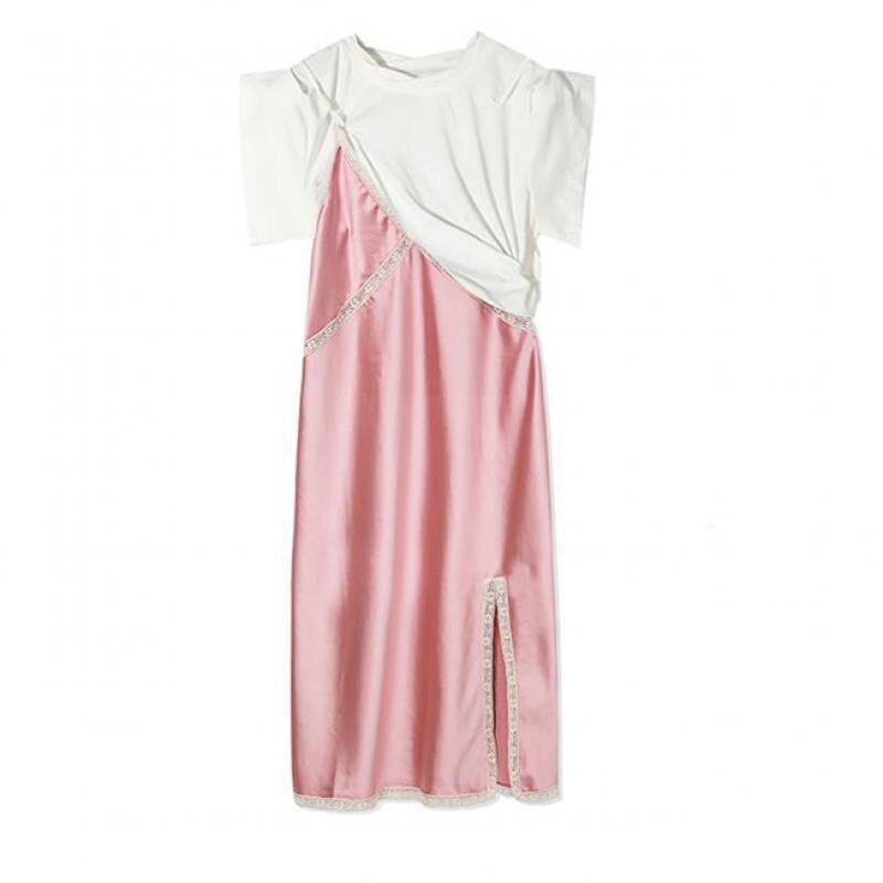 Spliced Lace Satin Cloth Women Dresses Camuflaje De Las Mujeres Vestidos De Lana Mujer Desiguer Princess sweet