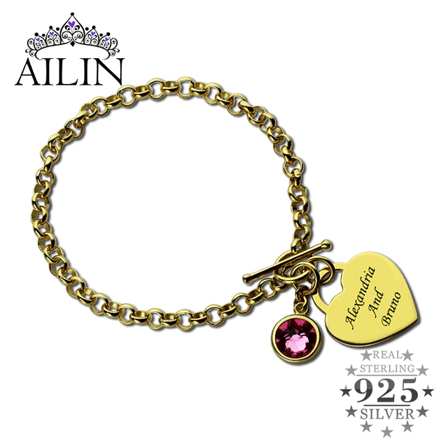 Ailin Engraved Names Charm Bracelet Personalized Heart Birthstone Gold Color You And Me Nameplate