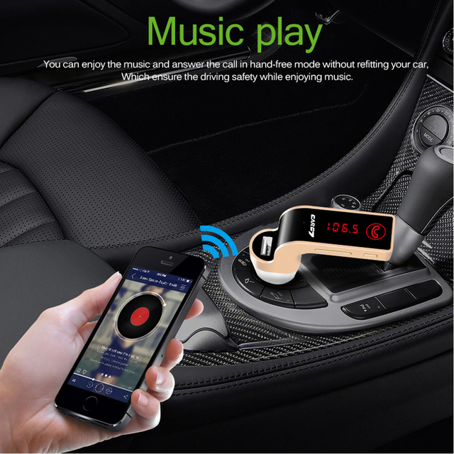 Car Charger With Wireless MP3 Music Player LCD Display Bluetooth Audio Receiver FM Transmitter Radio Support TF Card Mic
