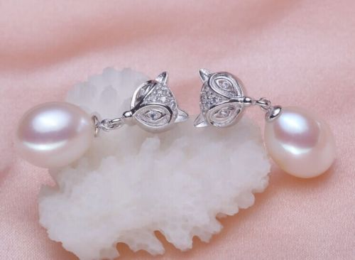 AAA 9-10 mm drop natural Australian white Freshwater pearl pearl earrings