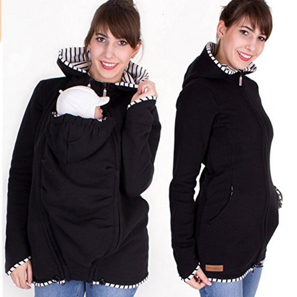 Long Sleeve Maternity Warm Cotton Clothing Mother Autumn Winter Women Hoddies Carry Baby Holder Infant Sweatshirt Jacket Carrier