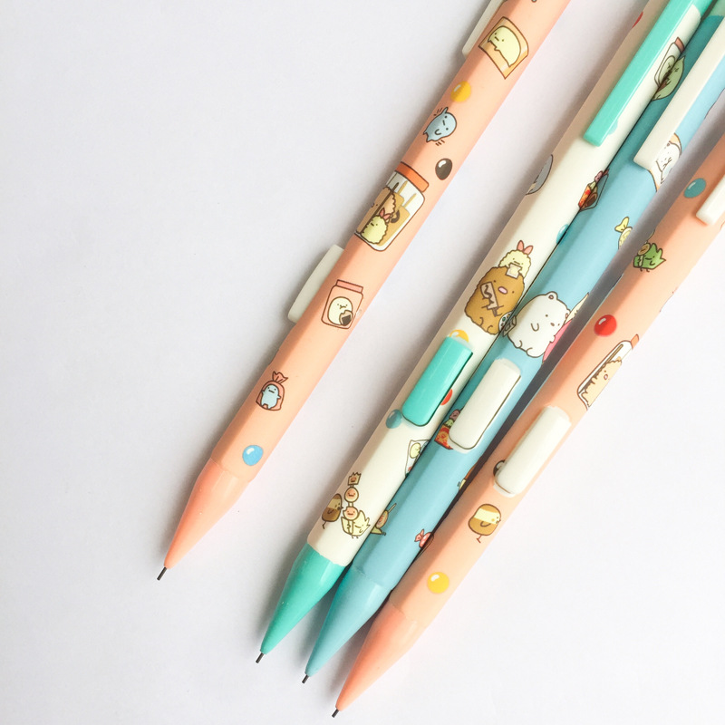 Cute Sumikko Gurashi Side Press Plastic Mechanical Pencil Automatic Pen For Kid School Office Supply kawaii kitty melody twin star sumikko gurashi gudetama canvas big capacity pencil pen bag