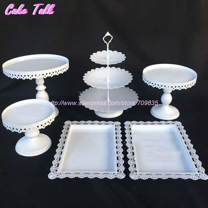 Buy White Wedding Cake Accessory Stand Set 6 Pieces Cupcake Stand Decorating