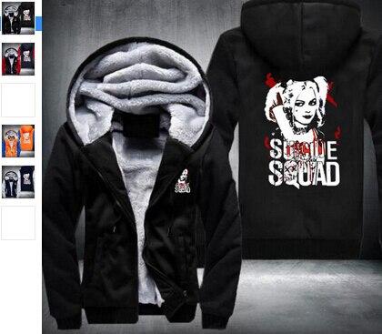 Wholesale New Zipper cardigan hoodie New Suicide Squad Harley Quinn Joker Hoodie Logo Winter JiaRong Fleece Mens Sweatshirts