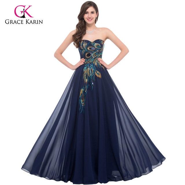 5f06dd911bccd Peacock Dress Grace Karin Purple Evening Dresses 2018 New Arrival Long  Party Dress Plus size Formal Evening Gowns robe de soiree
