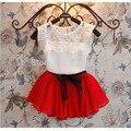 Nuevo 2015 primavera y el verano 3-7 años muchachas de la gasa de La Camiseta + falda determinada de Los Niños de La Princesa falda traje rojo verde púrpura 3 colores